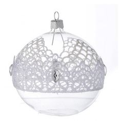 Bauble in blown glass with lace decoration 100mm | online sales on HOLYART.co.uk