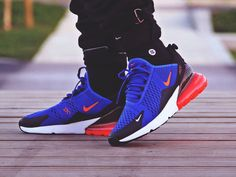 Nike Air Max 270 - Racer Blue - 2018 (by – Sweetsoles – Sneakers, kicks and trainers. On feet. Nike Air Force, Nike Air Max, Nike Air Jordans, Mens Nike Air, Nike Men, Tenis Nike 2018, Sneakers Fashion, Sneakers Nike, Custom Sneakers