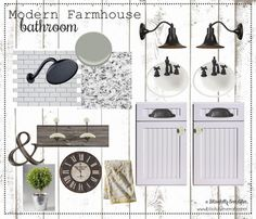 Design board for our Master Bathroom Modern Farmhouse remodel - Blissfully Ever After