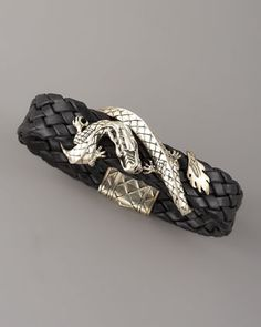 Woven Leather Dragon Bracelet, Black by John Hardy at Neiman Marcus.