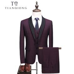LONMMY Suits mens clothing 3 Pieces/sets Jacket+Pants+Vest Plaid blazer men stage Slim fit Wedding suits for men terno masculino Burgundy Suit, Blue Suit Men, White Wedding Suit, Wedding Suits, Wedding Men, 3 Piece Suit Slim Fit, Red Tuxedo, Stylish Suit, Wedding Jacket