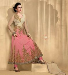 Bela in Pink Anarkali Salwar Suit