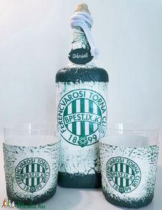 Ftc whiskys dísz- és használati üveg whiskys poharakkal focirajongói ajándék névnapra, szülinapra, karácsonyra. (Biborvarazs) - Meska.hu Vodka Bottle, Drinks, Drinking, Beverages, Drink, Beverage