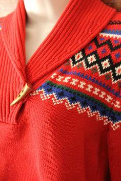 Lauren Ralph Lauren Shawl Collar Nordic womens Pullover Sweater Red size M #LaurenRalphLauren #CollaredShawl