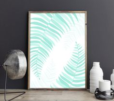 Laminas, laminas decorativas, Lamina Palmera, Tropical Deco, Hojas Palmera, Hawaii Art Print, Mint Green leaves, Palm leaves, Tropical Leaf