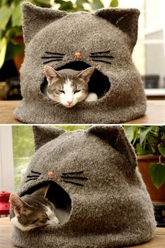 Knitting Pattern for Cat Cave - Cat hideway is an easy to read pattern, with ste. Knitting Pattern for Cat Cave - Cat hideway is an easy to read pattern, with step by step instructions and tips on how t. Knitting Projects, Knitting Patterns, Sewing Projects, Knitting Looms, Cat Cave, Knitted Cat, Cat Accessories, Dog Sweaters, Cat Crafts