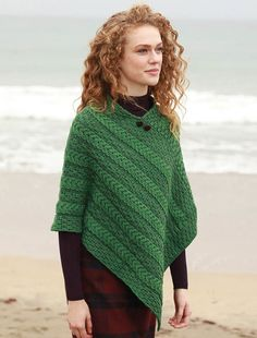 Plated Aran Poncho with Button Detail - Made in Ireland of 100% Soft Merino Wool; direct from the Aran Sweater Market, Aran Islands, Ireland...Famous Original, Since 1892 - ORDER NOW your very own Irish wool poncho cape
