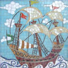 Sailing ship mosaic artwork. I like the swirls in the ocean.
