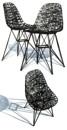 "Who doesn't like an Eames chair with a twist? Check out the ""Carbon Copy Chair"" by Bertjan Pot featuring the iconic Eiffel Tower legs. The designer used carbon fiber and epoxy resin to sketch this 3d version of the classic design. #eames #furniture #materials"