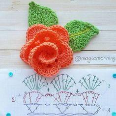 Easy Crochet Rose Flower Free Pattern in 9 Steps - Salvabrani Crochet Puff Flower, Crochet Flower Tutorial, Crochet Flower Patterns, Love Crochet, Irish Crochet, Crochet Designs, Crochet Flowers, Easy Crochet, Crochet Ideas