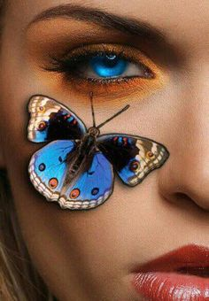 quenalbertini: Fantasy make up art Butterfly Face, Butterfly Effect, Butterfly Kisses, Butterfly Flowers, Flower Art, Butterflies, Butterfly Images, Native American Girls, Editing Background