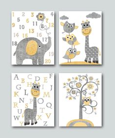 Elephant Nursery Alphabet Numbers Baby Boy Nursery Wall Art Nursery Art Baby Nursery Kids Room Decor Kids Art set of 4 8x10 Gray Yellow by artbynataera on Etsy