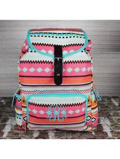 Aztec Print with Aqua Trim Large Backpack