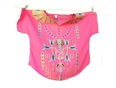 Pink and gold Egyptian Top Vintage Egyptian Shirt by Holiday Wishes, Vintage Tops, Pink Color, Pink And Gold, One Piece, Turquoise, Crop Tops, Egyptian, Fabric