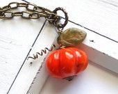 Linkel Designs on Etsy - Pumpkin Necklace - Halloween Jewelry Orange Stone Pumpkin Patch