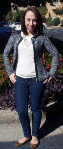 THML Alycia Leather Shoulder Knit Zip Jacket