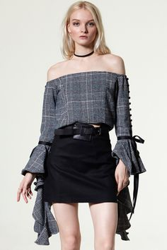Aos Check Off-the-Shoulder Top from Storets