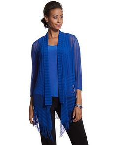 Chico's Travelers Collection Fringe Mesh Jacket #chicos