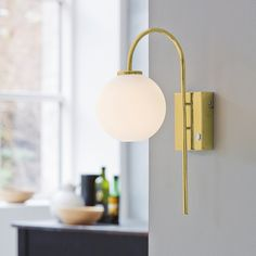 Herstal This wall lamp is characterized by the opal blown glass which creates ambient indirect light. Ideal for hallways or special places aiming to create a great atmosphere. Scandinavian Lamps, Scandinavian Interior Design, Swedish Home Decor, Art Deco Bedroom, Pretty Lights, Glass Globe, Messing, Wall Sconces, Houses