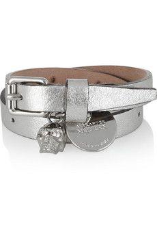 Alexander McQueen Metallic leather and Swarovski crystal wrap bracelet | NET-A-PORTER
