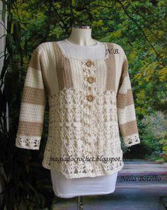 Magia do Crochet Casaco em crochet para senhora