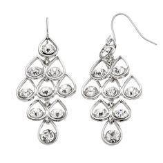 Simulated Crystal Nickel Free Teardrop Kite Earrings, Women's, Silver