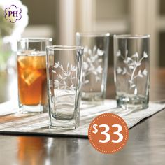 Sip in style! Our classic vine design meets #modern square shape in these beautiful #BeverageGlasses - an elegant addition to any table.