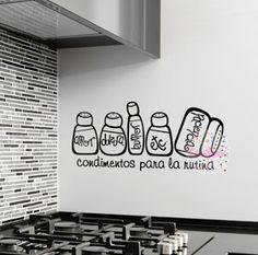 vinilo decorativo pared cocina condimentos para la rutina