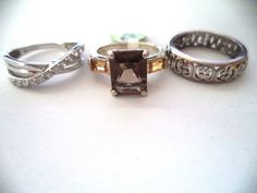 Lot of three rings sterling silver sz7-7.5 smokey topaz *pretty vintage rings* | Jewelry & Watches, Vintage & Antique Jewelry, Fine | eBay!