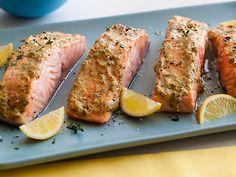 Broiled Salmon with Herb Mustard Glaze Recipe : Giada De Laurentiis : Food Network