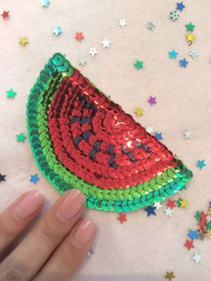 Kawaii Juicy Watermelon sequin patch One of a by Lostwithoutyou Leather Purse Diy, Diy Purse, Hamsa Drawing, Sequin Crafts, Pearl Embroidery, Sequin Patch, Pin And Patches, Embroidery Techniques, Diy Fashion
