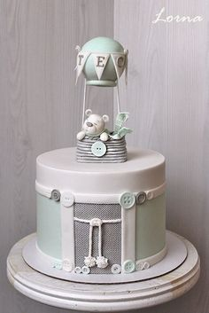 33 ideas for baby boy baptism cale christening hot air balloon Baby Birthday Cakes, Baby Boy Cakes, Cakes For Boys, Baby Shower Cakes, Baby Boy Shower, Fancy Cakes, Cute Cakes, Christening Cake Boy, Boy Baptism