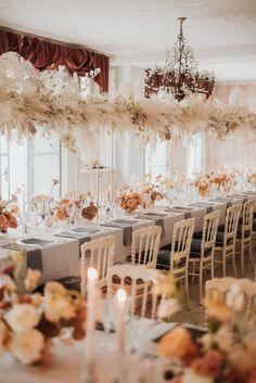 Stunning blush orange wedding reception decor with hanging pampas grass garland Blush Wedding Reception, Tent Wedding, Boho Wedding, Wedding Table, Floral Wedding, Gothic Wedding, Timeless Wedding, Elegant Wedding, Glamorous Wedding