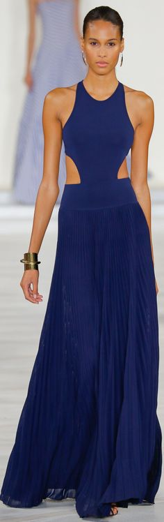 Spring 2016 Ralph Lauren Collection: Navy halter gown with cut-out detail