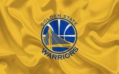 Scarica sfondi Basket club, il Golden State Warriors NBA, USA, basket, emblema, logo, di seta gialla