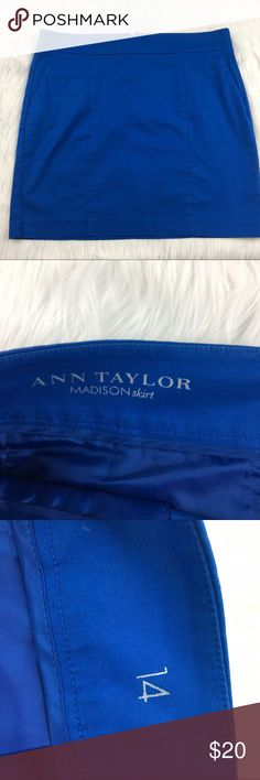 "Ann Taylor Madison Skirt Size 14 Ann Taylor Blue Madison Skirt Size 14 18"" across the waist laying flat. hip- 20.5"" length- 18"" 98% cotton, 2% spandex Ann Taylor Skirts"