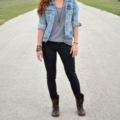 Combat Boots, demn shirt rolled up, gray tee, simple necklace, black skinny jeans
