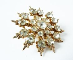 Vintage 1940s Gold Snowflake Brooch with by PopAndGlamVintage