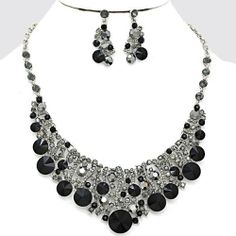 "Stunning Rhodium / Black Necklace with Matching Earrings~17"" 5 TwentyFour Store,http://www.amazon.com/dp/B00J5ZQ1TK/ref=cm_sw_r_pi_dp_O7qltb0YD6VEQHF0"