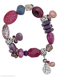 """Raspberry baubles of Quartz, Agate, Pearl, Crystal, Glass, Shell and Sterling Silver make this sweet Stretch Bracelet a real treat. Fits up to a 7"""" wrist."""