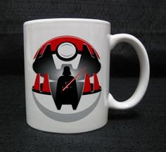 Pokeball with the iconic Star Wars Darth Vader mug cup two side ceramic 11oz