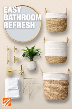 Try new hardware and stylish decor from The Home Depot for an easy bathroom refresh. Home Depot, Budget Bathroom, Simple Bathroom, Bathroom Colors, Bathroom Sets, Bathrooms, Home Decor Accessories, Decorative Accessories, Amazon Home Decor