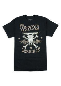 Drinkin' and Dreamin' Waylon Jennings Mens Crewneck Tee Shirt - Waylon Jennings Merch Co. Beatles Shirt, Waylon Jennings, Skull And Crossbones, Tee Shirts, Tees, Vintage Fashion, Crew Neck, Hillbilly, Mens Tops
