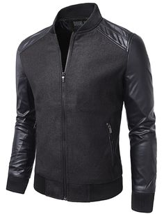 Mens Casual Slim Fit Zip-up Jacket #doublju