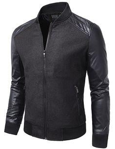 Mens Casual Slim Fit Zip-up Jacket #doublju