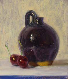"""Black Jug with Cherries, by Duane Keiser Still Life Oil Painting, Black Vase, Fruit Painting, Home Workshop, Art Blog, Flower Art, Glass Art, Berries, Day"