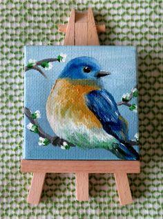 bird painting acrylic Bluebird Painting Mini Canvas Easel, Mini Bluebird Artwork, Original Bird Canvas Art, Bluebird Home Decor, Acrylic Bluebird Painting Bird Paintings On Canvas, Bird Painting Acrylic, Bird Artwork, Mini Paintings, Acrylic Artwork, Canvas Artwork, Painting Art, Small Canvas Art, Mini Canvas Art