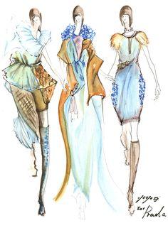 Fashion Sketch - Prada outfits, watercolour fashion illustrations // Yoyo Han