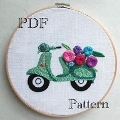 Beginner Hand Embroidery Stitch, Hand Embroidery Motocicle with Flowers PDF Pattern, # Beginner . - Beginners hand embroidery stitch, hand embroidery motocicle with flowers PDF pattern, - Embroidery Hearts, Hand Embroidery Flowers, Embroidery Fabric, Learn Embroidery, Hand Embroidery Stitches, Hand Embroidery Designs, Vintage Embroidery, Embroidery Kits, Beginner Embroidery