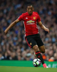 Anthony Martial of Manchester United in action during the Premier League match between Manchester City and Manchester United at Etihad Stadium on April 27, 2017 in Manchester, England.